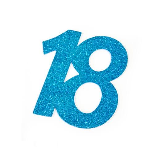 Chiffre anniversaire 18ans bleu turquoise