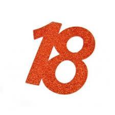 Chiffre anniversaire rouge 18ans (x2) REF/DEC754/18
