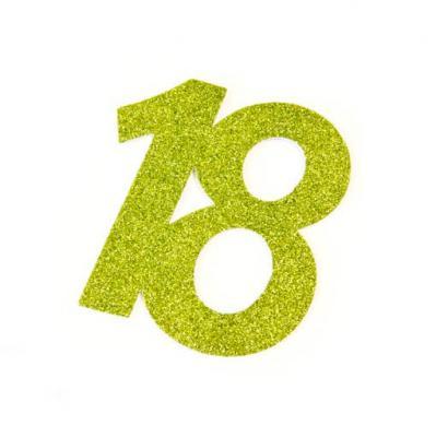 Chiffre anniversaire vert 18ans (x1) REF/DEC754/18