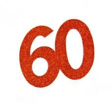 Chiffre anniversaire rouge 60ans (x2) REF/DEC754/60