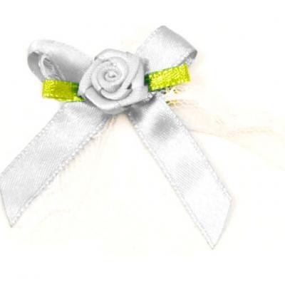 Cocarde boutonnière satin blanche (x10) REF/ACM443