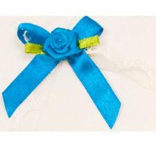 Cocarde boutonnière satin bleu turquoise (x10) REF/ACM443