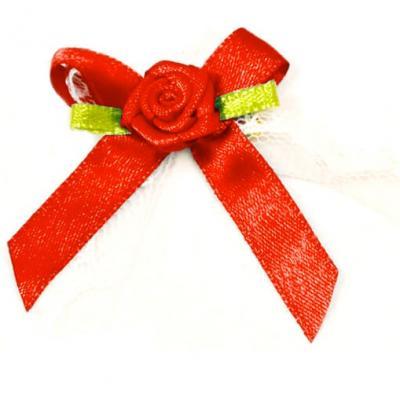 Cocarde boutonnière satin rouge (x10) REF/ACM443