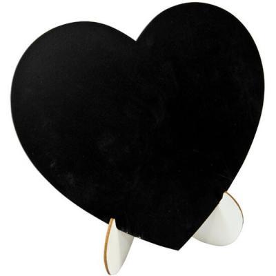 Mariage: Coeur ardoise sur chevalet 18cm (x1) REF/DEK0010