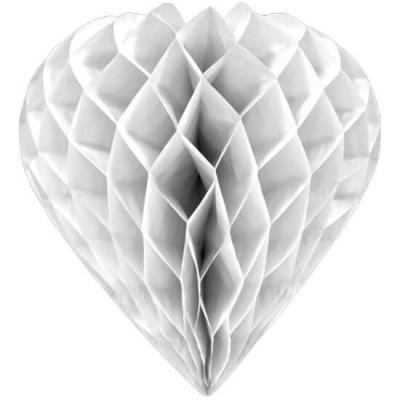 Coeur blanc à suspendre, 30cm (x1) REF/GUI061