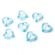 Coeur bleu turquoise avec perforation (x20) REF/DEC586