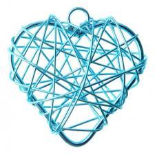 Coeur bleu turquoise en métal (x6) REF/3827