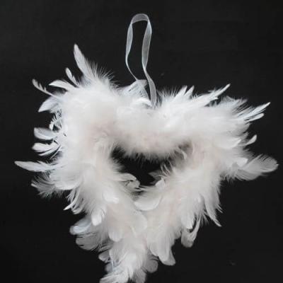 Coeur en plumes blanc, 20cm (x1) REF/DEC816