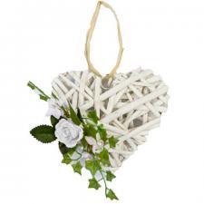Coeur en rotin avec rose et feuillage blanc à suspendre (x1) REF/FMA3026