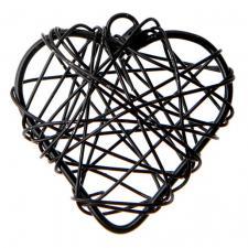 Coeur noir en métal (x6) REF/3827