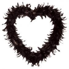 Grand coeur noir en plumes 35cm (x1) REF/2891