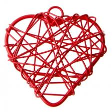 Coeur rouge en métal (x6) REF/3827