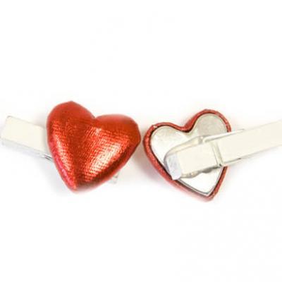 Coeur rouge sur pince (x6) REF/MT961