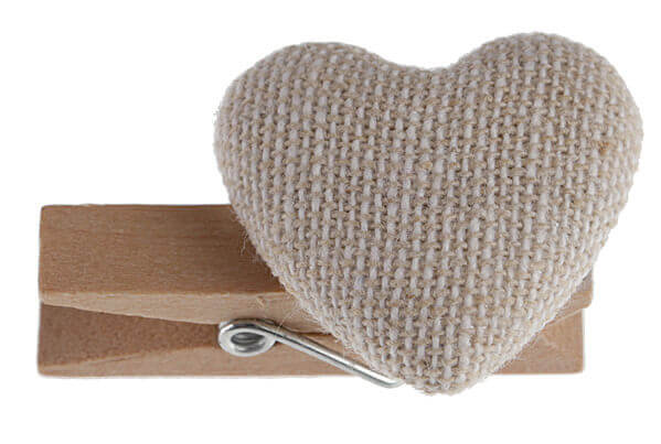 Coeur sur pince naturel