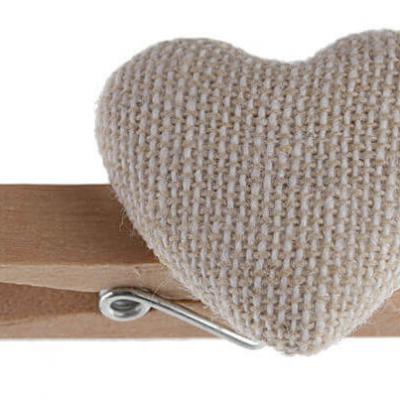 Coeur sur pince naturel (x6) REF/5297