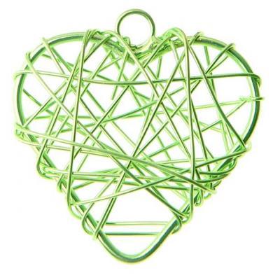 Coeur vert en métal (x6) REF/3827