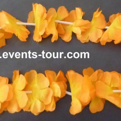 Collier fleur Hawaïen orange (x1)