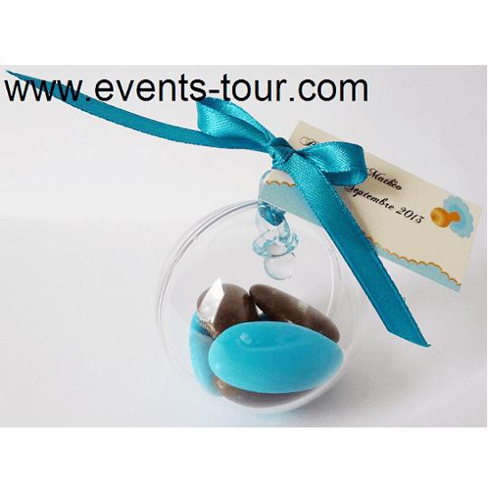Confection de dragee bapteme naissance avec boule pvc transparente