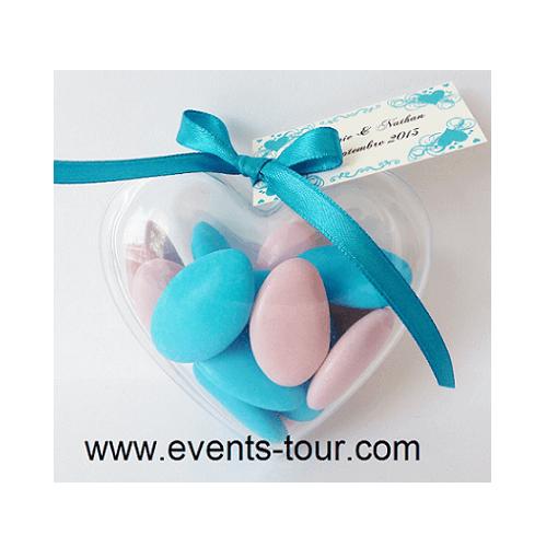 Confection de dragee coeur avec ruban satin bleu turquoise