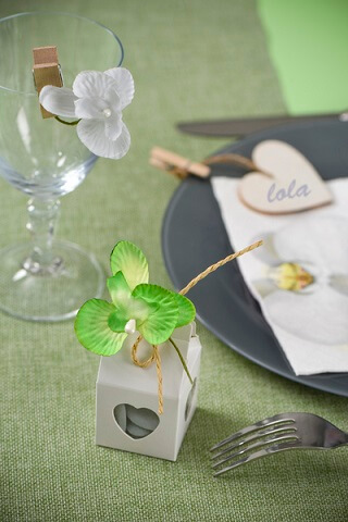 Confection de dragee orchidee vert