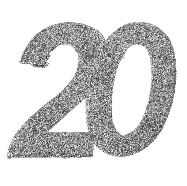 Confetti anniversaire 20ans paillete argent