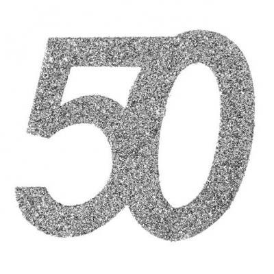 Confettis pailleté anniversaire argent 50ans (x6) REF/4532