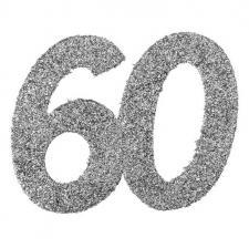 Confettis pailleté anniversaire argent 60ans (x6) REF/4532