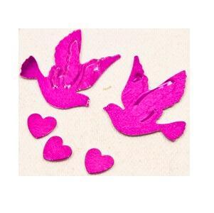 Confetti colombe et coeur fuchsia (x10gr) REF/DEC398