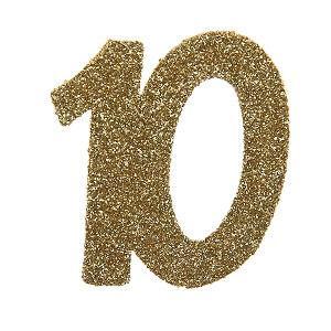 Confettis pailleté anniversaire or 10ans (x6) REF/4604