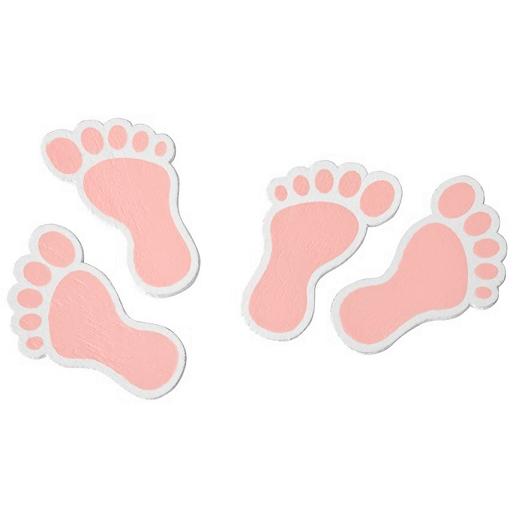 Confettis bois pied de bebe rose