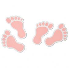 Confettis bois pied de bébé rose (x10) REF/DEC885