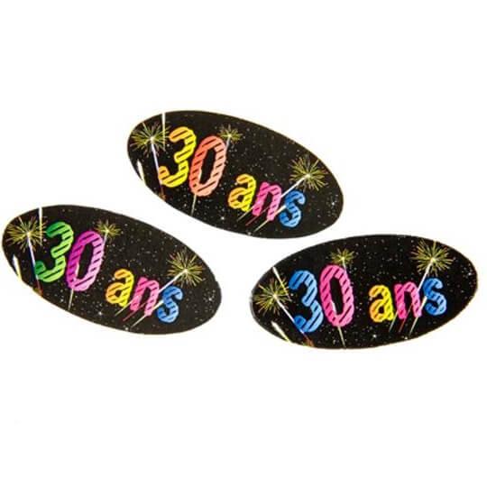 Confettis de table anniversaire 30ans noir multicolore