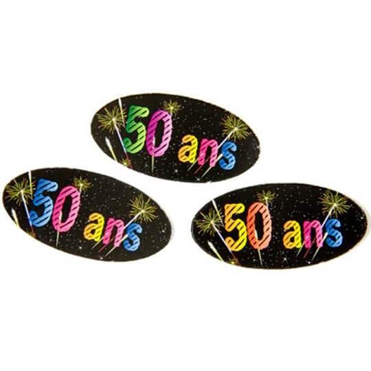 Confettis de table anniversaire 50ans noir multicolore
