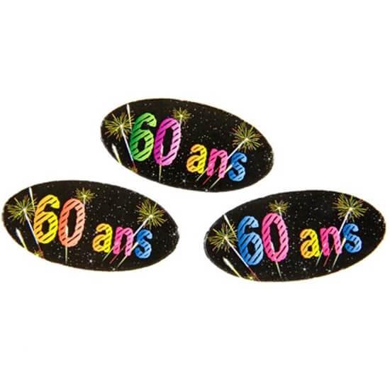 Confettis de table anniversaire 60ans noir multicolore