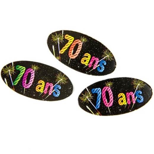 Confettis de table anniversaire 70ans noir multicolore
