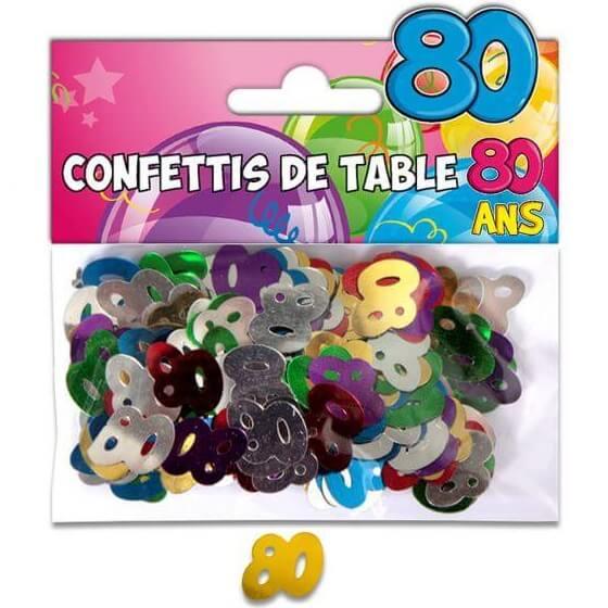 Confettis de table anniversaire 80ans multicolore