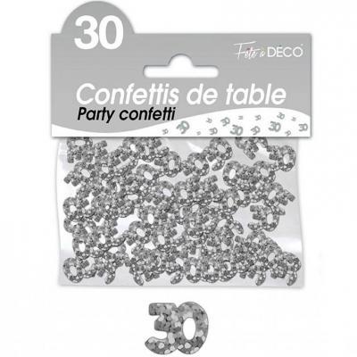 Confettis de table anniversaire 30ans argent 10grs (x1) REF/CA03A