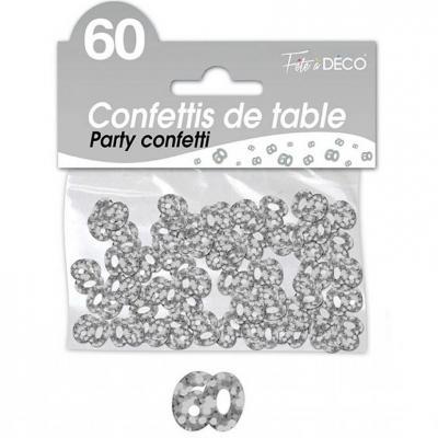 Confettis de table anniversaire 60ans argent 10grs (x1) REF/CA06A