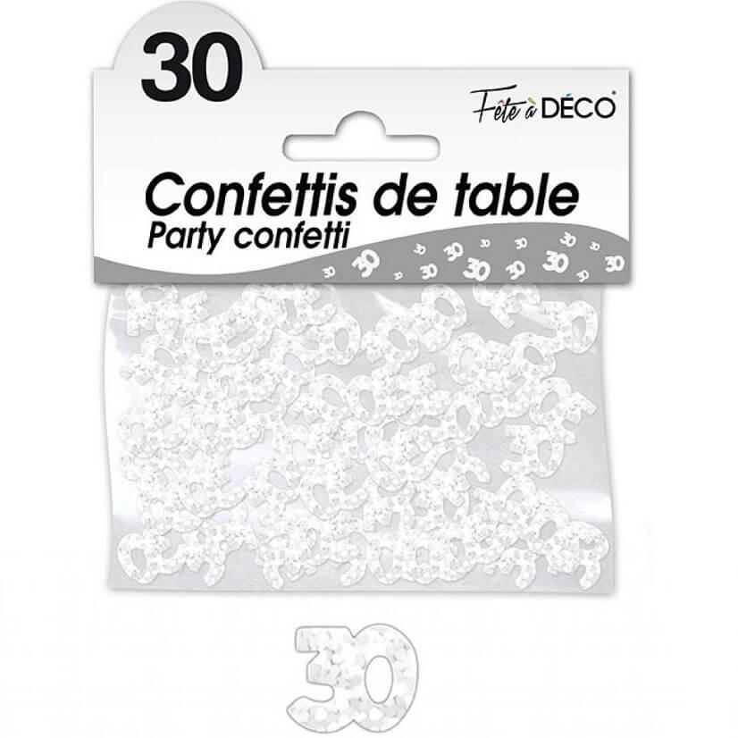 Confettis de table anniversaire blanc 30 ans
