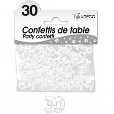 Confettis de table anniversaire 30ans blanc 10grs (x1) REF/CA03BA