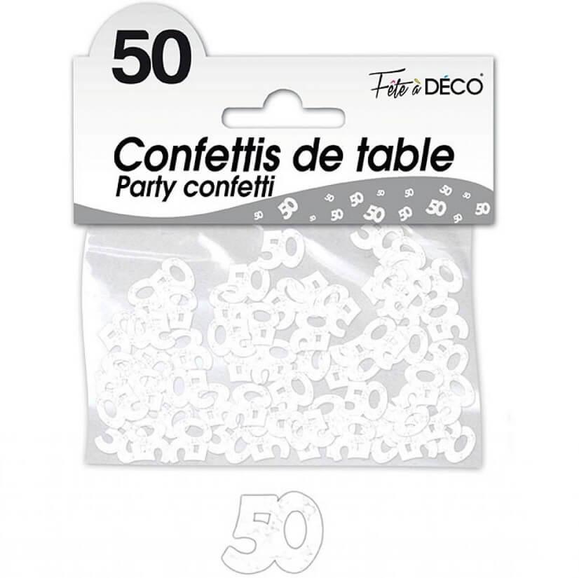 Confettis de table anniversaire blanc 50 ans