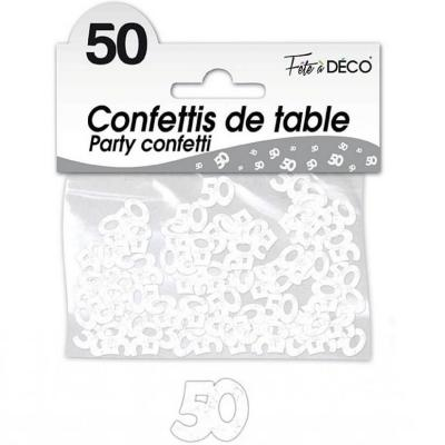 Confettis de table anniversaire 50ans blanc 10grs (x1) REF/CA05BA