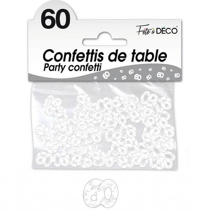 Confettis de table anniversaire blanc 60 ans
