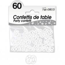 Confettis de table anniversaire 60ans blanc 10grs (x1) REF/CA06BA