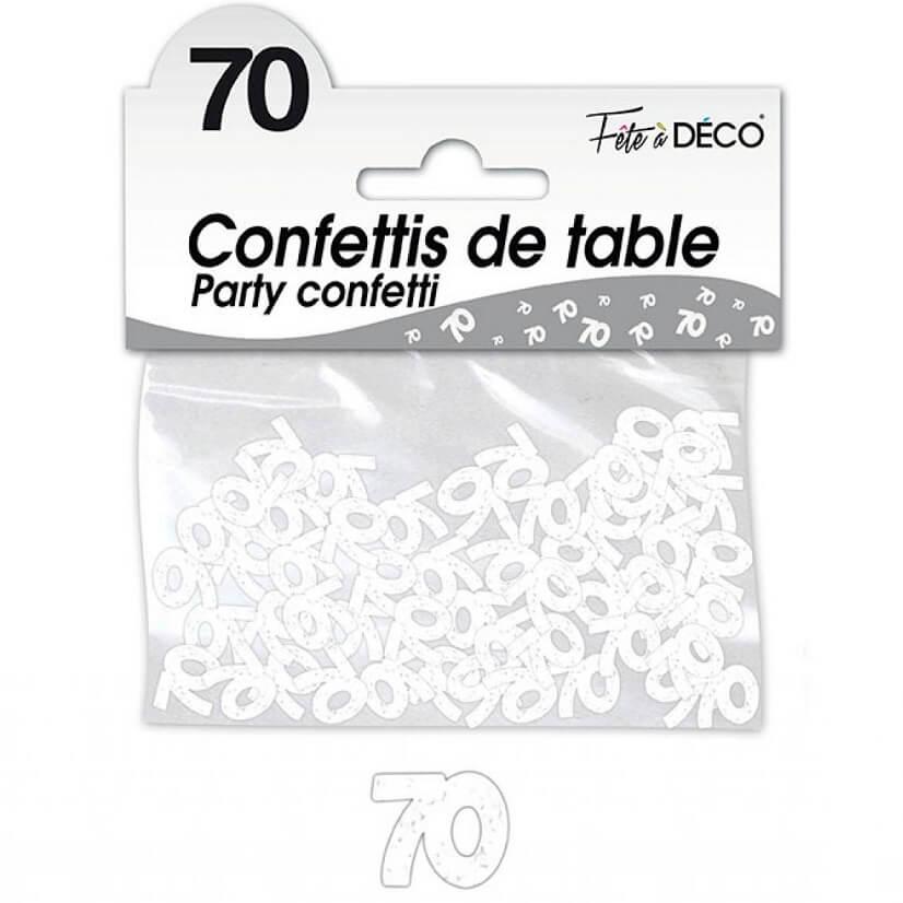 Confettis de table anniversaire blanc 70 ans