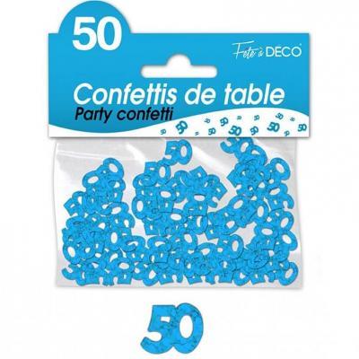 Confettis de table anniversaire 50ans bleu 10grs (x1) REF/CA05B