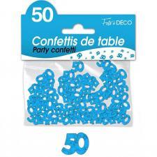 Confettis de table anniversaire bleu 50 ans