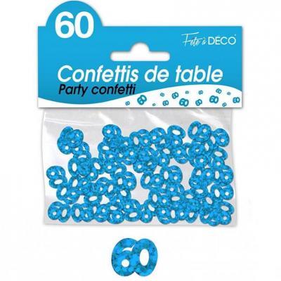 Confettis de table anniversaire 60ans bleu 10grs (x1) REF/CA06B