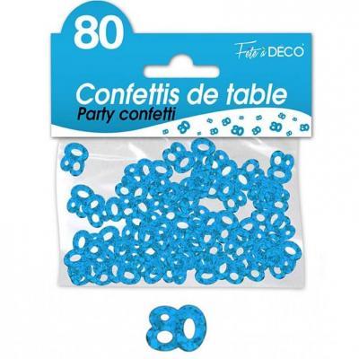 Confettis de table anniversaire 80ans bleu 10grs (x1) REF/CA08B