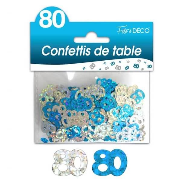 Confettis de table anniversaire bleu et argent 80ans